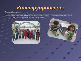 Конструирование: Тема: «Кормушки» Цель: Закрепить знаний детей о зимующих пти