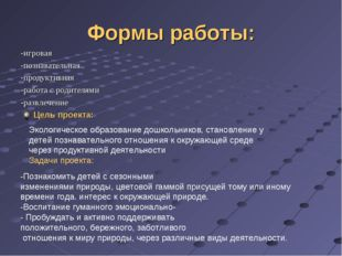 Формы работы: -игровая -познавательная -продуктивная -работа с родителями -ра