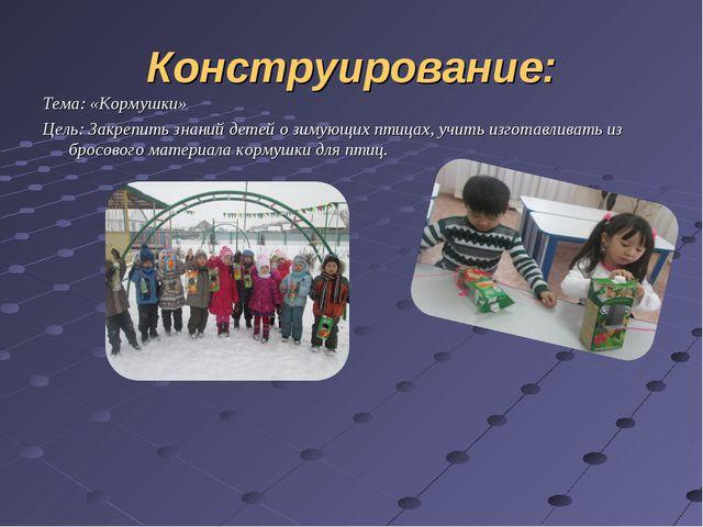 Конструирование: Тема: «Кормушки» Цель: Закрепить знаний детей о зимующих пти...