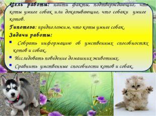 Цель работы: найти факты, подтверждающие, что коты умнее собак или доказываю