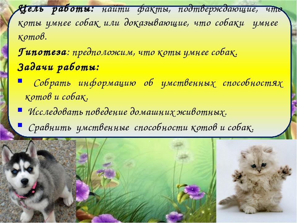 Цель работы: найти факты, подтверждающие, что коты умнее собак или доказываю...