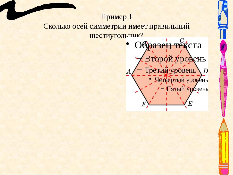 Пример 1 Сколько осей симметрии имеет правильный шестиугольник? Ответ: 6 осей...