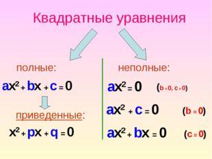Квадратные уравнения неполные: ax2 + bx + c = 0 приведенные: x2 + px + q = 0