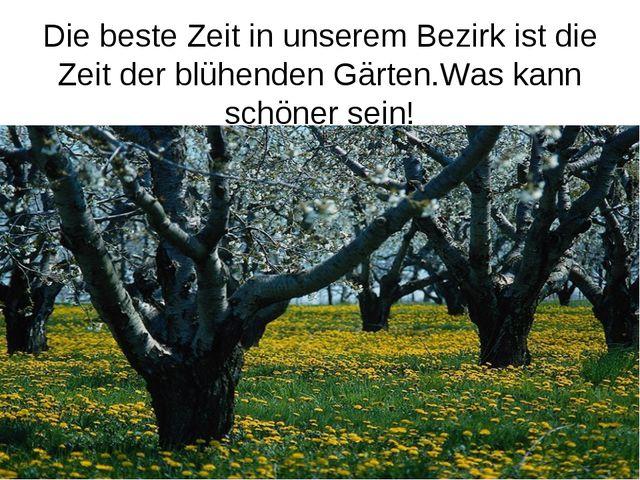 Die beste Zeit in unserem Bezirk ist die Zeit der blühenden Gärten.Was kann s...