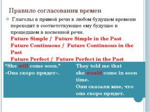 Правило согласования времен Глаголы в прямой речи в любом будущем времени пе