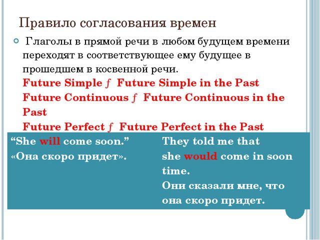 Правило согласования времен Глаголы в прямой речи в любом будущем времени пе...