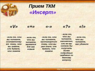 Прием ТКМ «Инсерт» «V»«+»«-»«?»«!» - если то, что вы читаете, соответству