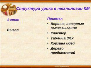 1 этап Вызов Приемы: Верные, неверные высказывания Кластер Таблица ЗХУ Корзин