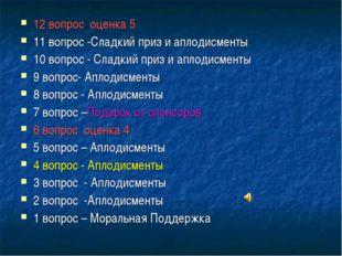 12 вопрос оценка 5 11 вопрос -Сладкий приз и аплодисменты 10 вопрос - Сладкий