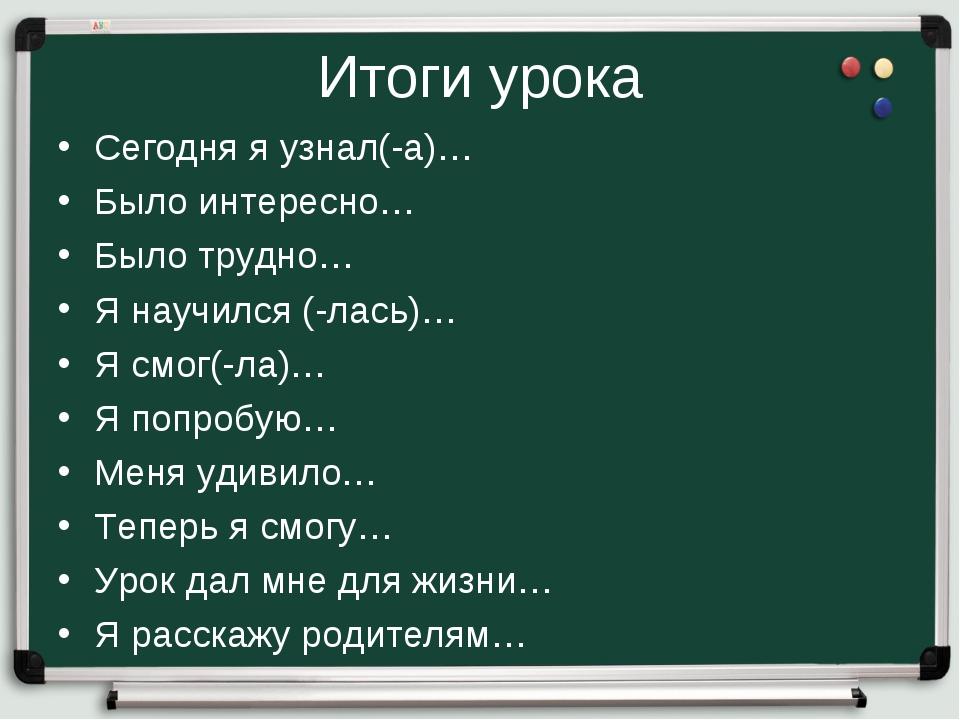 Итоги урока Сегодня я узнал(-а)… Было интересно… Было трудно… Я научился (-ла...