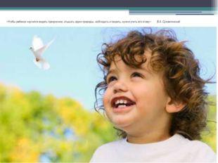 «Чтобы ребенок научился видеть прекрасное, слышать звуки природы, наблюдать