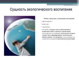 Сущность экологического воспитания Можно определить следующими категориями: м