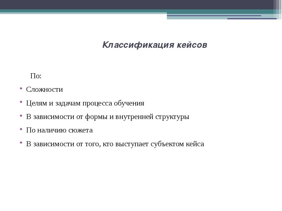 Классификация кейсов По: Сложности Целям и задачам процесса обучения В зависи...