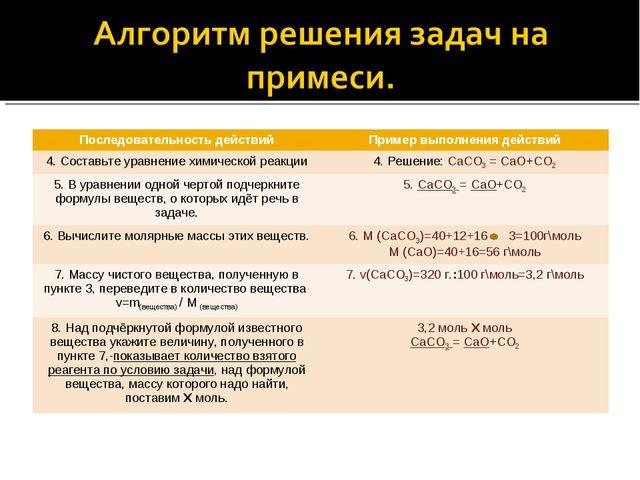 Последовательность действийПример выполнения действий 4. Составьте уравнение...