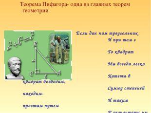 Теорема Пифагора- одна из главных теорем геометрии Если дан нам треугольник