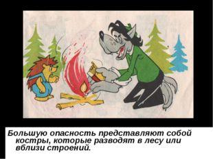 Большую опасность представляют собой костры, которые разводят в лесу или вбли