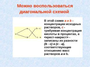 Можно воспользоваться диагональной схемой В этой схеме а и b - концентрации