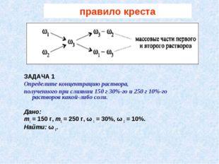 правило креста ЗАДАЧА 1 Определите концентрацию раствора, полученного при сли