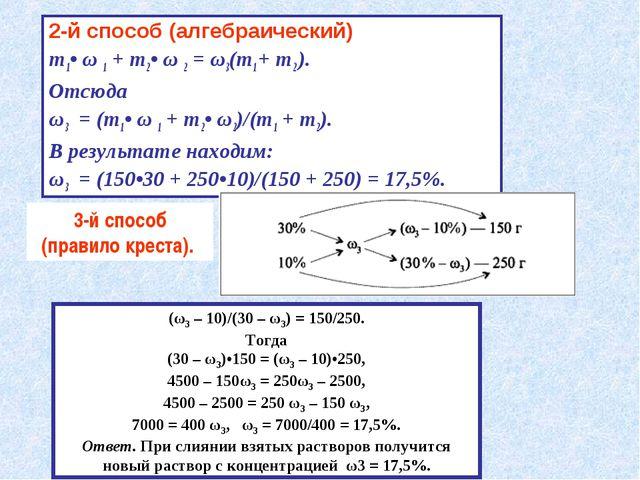 2-й способ (алгебраический) m1• ω 1 + m2• ω 2 = ω3(m1 + m2 ). Отсюда ω3 = (m1...