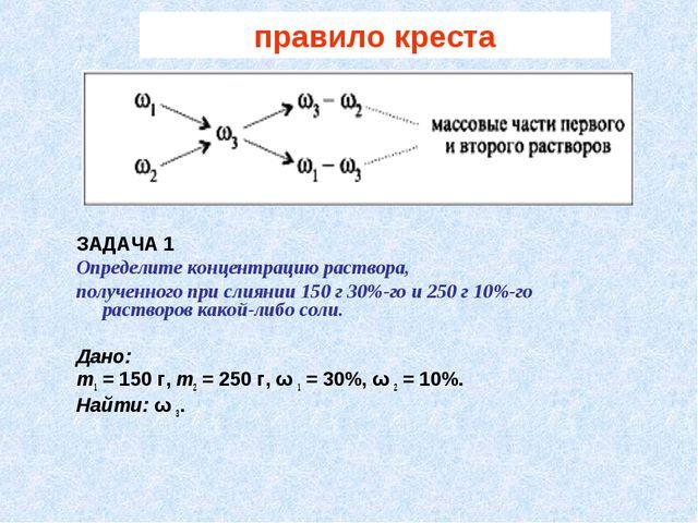 правило креста ЗАДАЧА 1 Определите концентрацию раствора, полученного при сли...