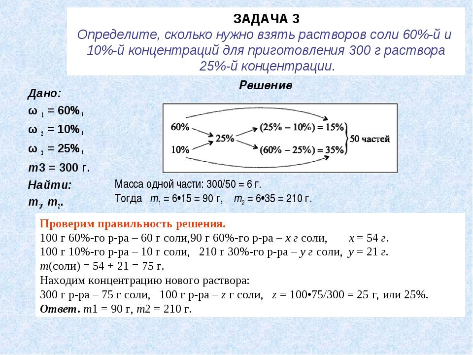 ЗАДАЧА 3 Определите, сколько нужно взять растворов соли 60%-й и 10%-й концент...