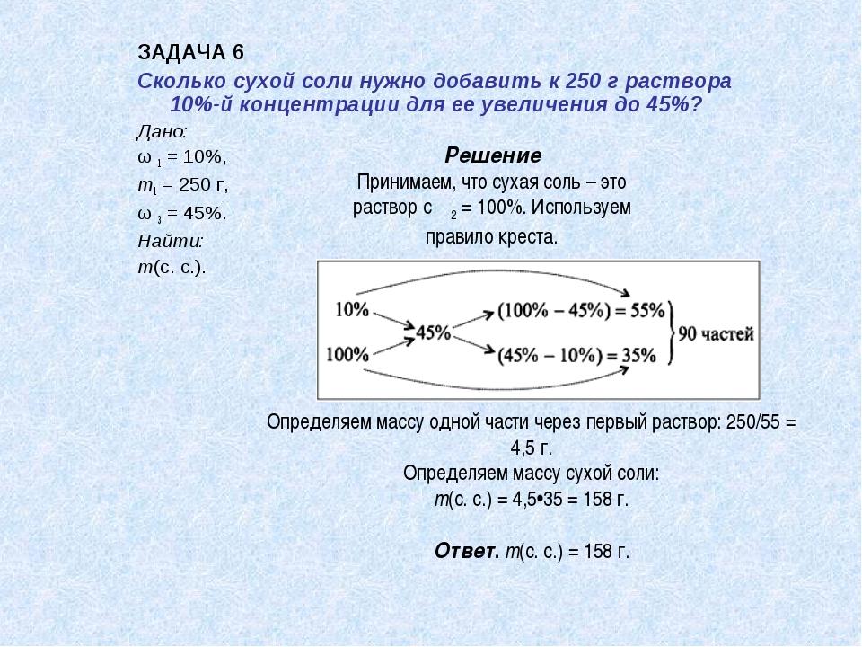 ЗАДАЧА 6 Сколько сухой соли нужно добавить к 250 г раствора 10%-й концентраци...