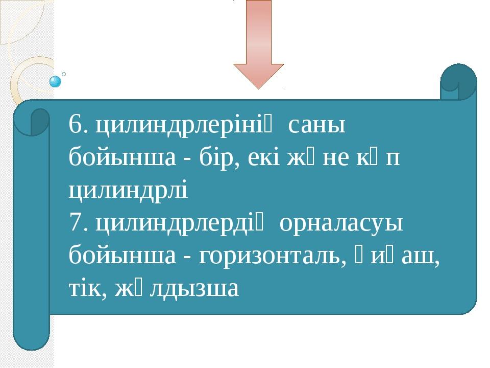 6. цилиндрлерінің саны бойынша - бір, екі және көп цилиндрлі 7. цилиндрлерді...