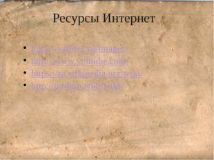 Ресурсы Интернет https://yandex.ru/images/ http://www.youtube.com/ https://r