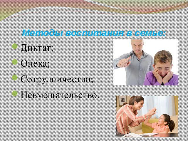 Методы воспитания в семье: Диктат; Опека; Сотрудничество; Невмешательство.