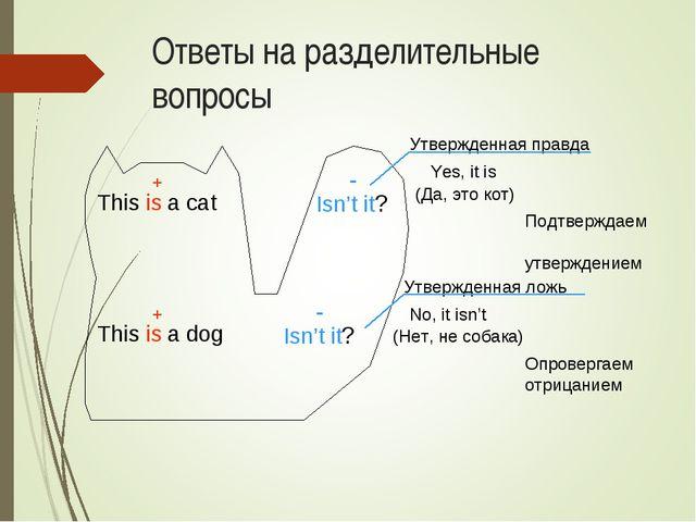 Ответы на разделительные вопросы This is a cat Isn't it? This is a dog Isn't...