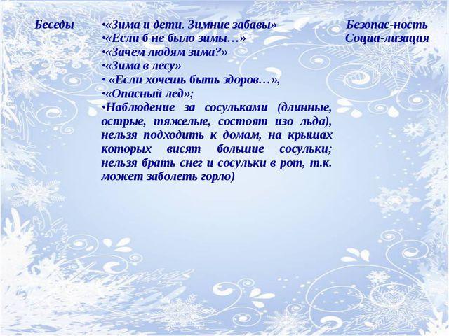 Беседы«Зима и дети. Зимние забавы» «Если б не было зимы…» «Зачем людям зима?...