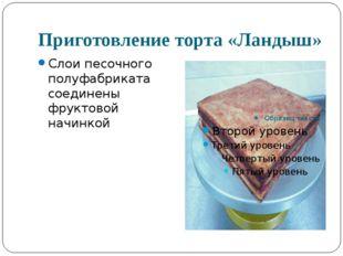 Приготовление торта «Ландыш» Слои песочного полуфабриката соединены фруктовой