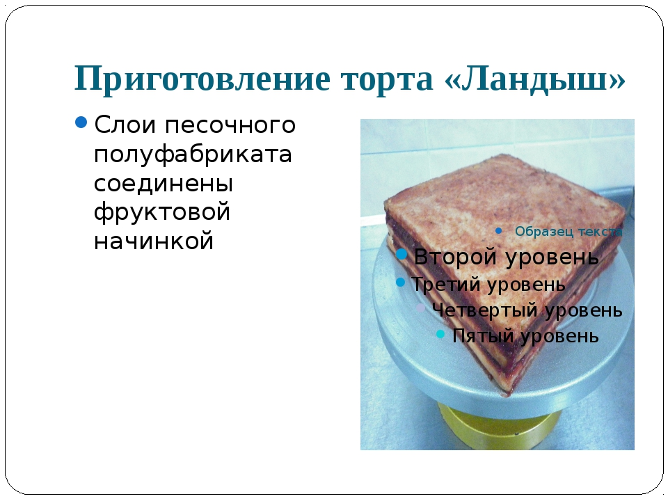 Приготовление торта «Ландыш» Слои песочного полуфабриката соединены фруктовой...