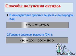2.Горение сложных веществ (CH₄): 2Са + О₂ =2СаО Взаимодействие простых вещест