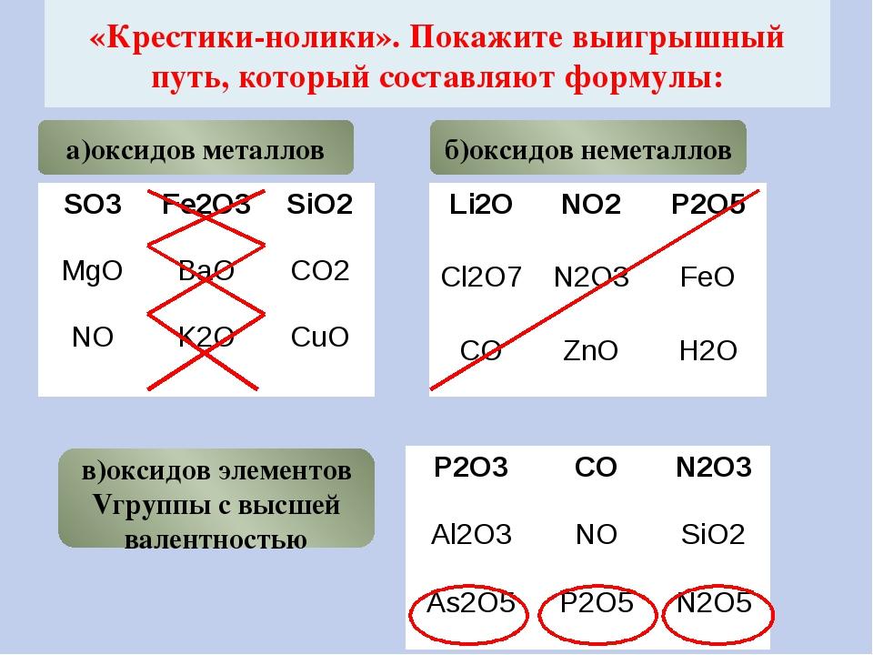 «Крестики-нолики». Покажите выигрышный путь, который составляют формулы: а)ок...