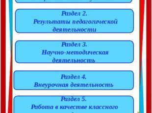 Содержание Раздел 1. Общие сведения об учителе Раздел 2. Результаты педагогич