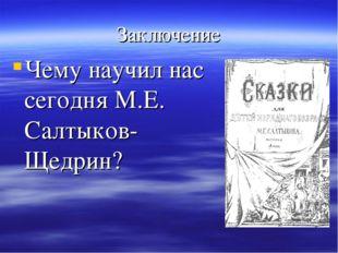 Заключение Чему научил нас сегодня М.Е. Салтыков-Щедрин?