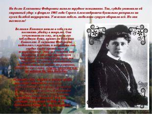 На долю Елизаветы Федоровны выпало трудное испытание. Так, судьба уготовила е