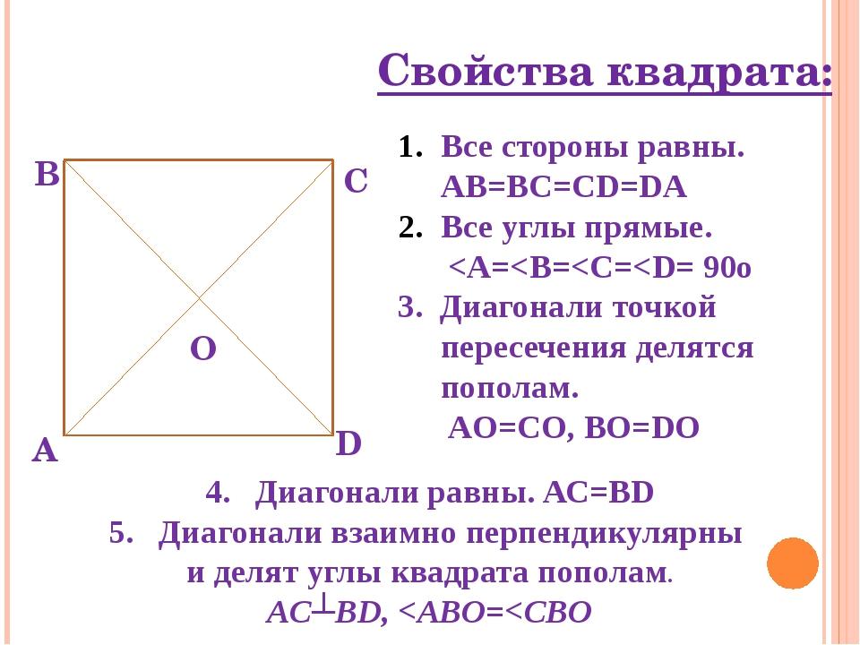 Свойства квадрата: А В С О D Все стороны равны. AB=BC=CD=DA Все углы прямые.