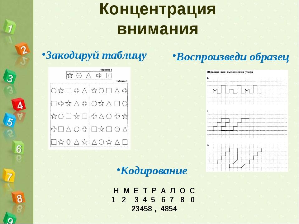 Концентрация внимания Закодируй таблицу Воспроизведи образец Н М Е Т Р А Л О...