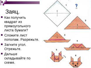 Заяц. Как получить квадрат из прямоугольного листа бумаги? Сложите лист попол