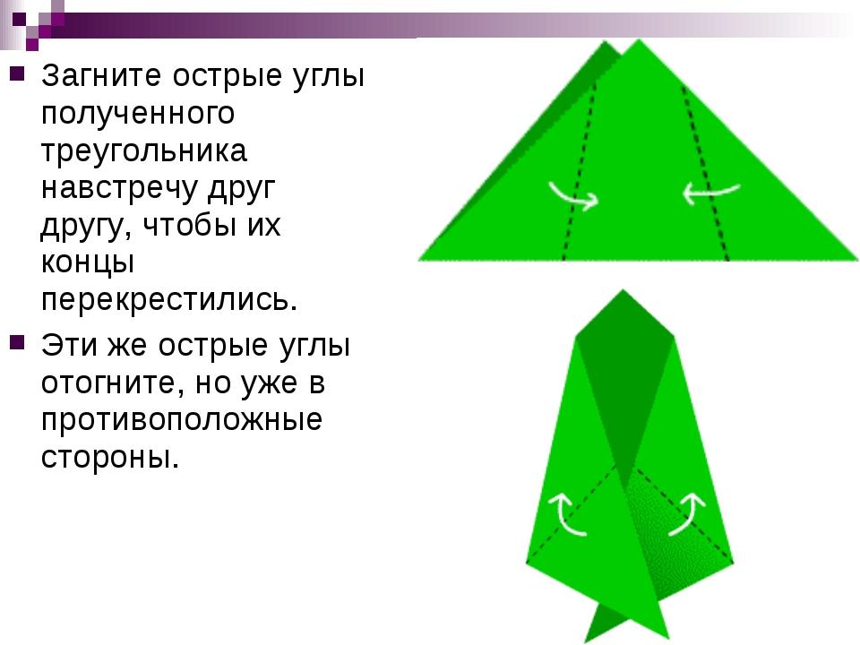 Загните острые углы полученного треугольника навстречу друг другу, чтобы их к...