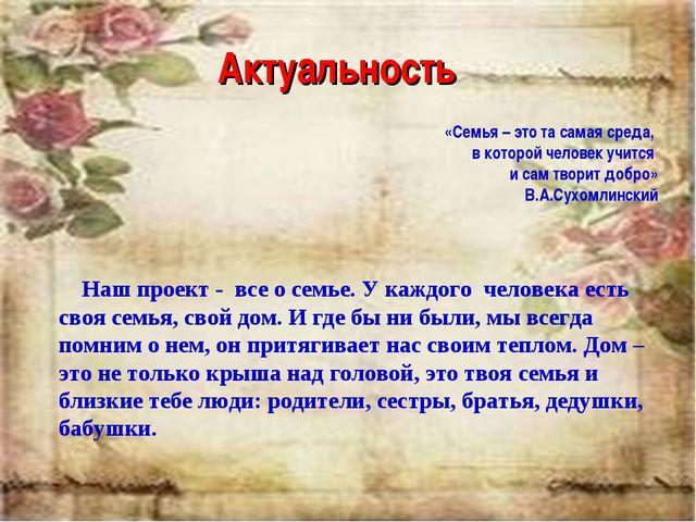Актуальность «Семья – это та самая среда, в которой человек учится и сам твор...
