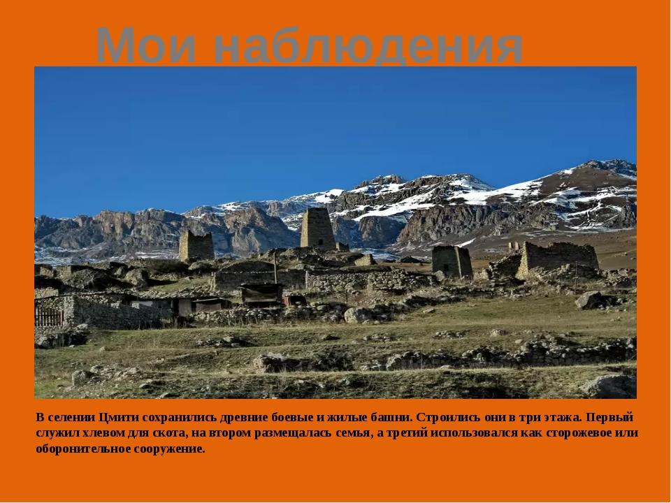 Мои наблюдения В селении Цмити сохранились древние боевые и жилые башни. Стро...