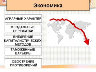 Экономика АГРАРНЫЙ ХАРАКТЕР ФЕОДАЛЬНЫЕ ПЕРЕЖИТКИ ВНЕДРЕНИЕ КАПИТАЛИСТИЧЕСКИХ