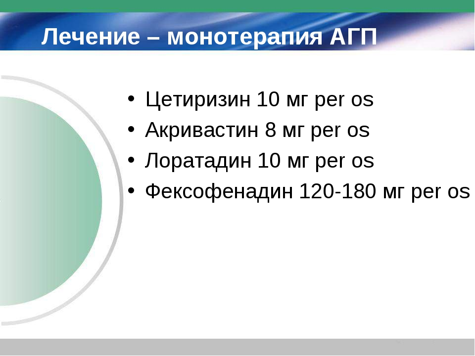 Лечение – монотерапия АГП Цетиризин 10 мг per os Акривастин 8 мг per os Лорат...