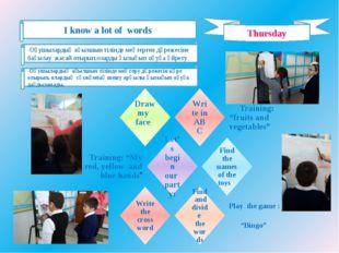 Thursday I know a lot of words -Оқушылардың ағылшын тілінде меңгерген дәрежес