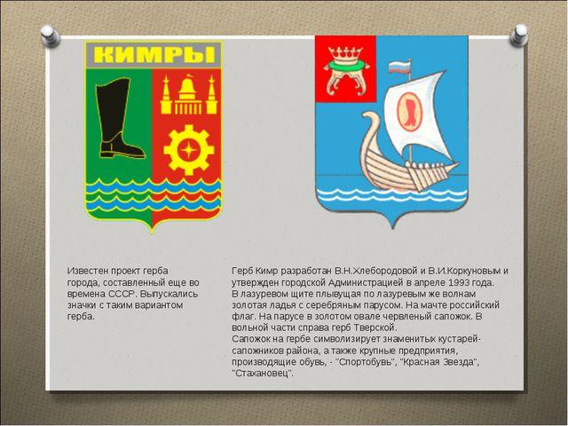 Герб Кимр разработан В.Н.Хлебородовой и В.И.Коркуновым и утвержден городской...