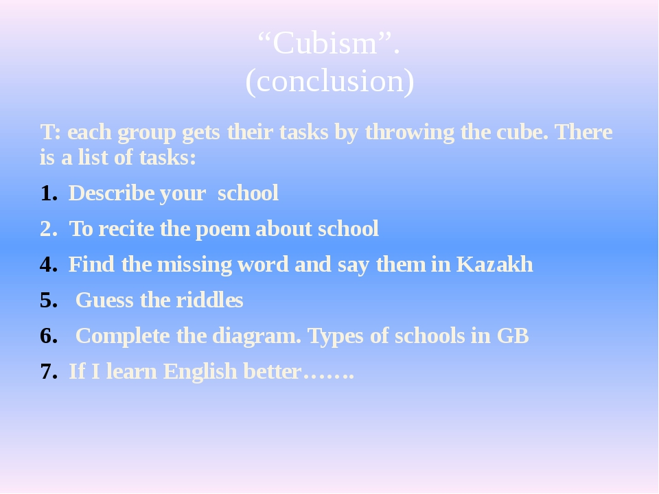 """""""Cubism"""". (conclusion) T: each group gets their tasks by throwing the cube. T..."""
