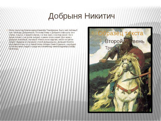Добрыня Никитич Жила- была под Киевом вдова Мамелфа Тимофеевна. Был у неё люб...